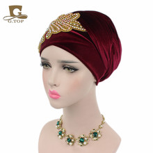 2017 New Fashion Women Gorgeous Crystal Jewelry Long Velvet Turban Hijab Head Scarf Head Wrap Turbante