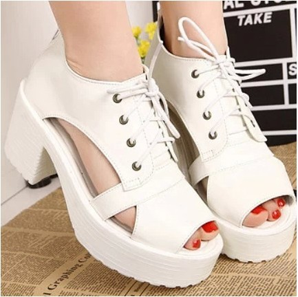 ФОТО Lace-Up Peep Toe Sandals Summer Women Shoes Plus Size 40 Platform Shoes High-Heeled Shoes Thick Heel Chaussure Femme