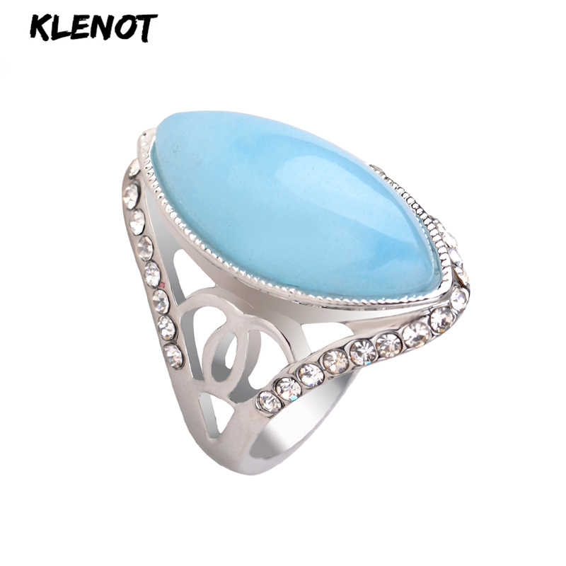Natural Jade Stone Silver Ring for Women Green Blue Antique Oval setting Hollow out Crystal Men Tibetan Finger Rings Jewelry