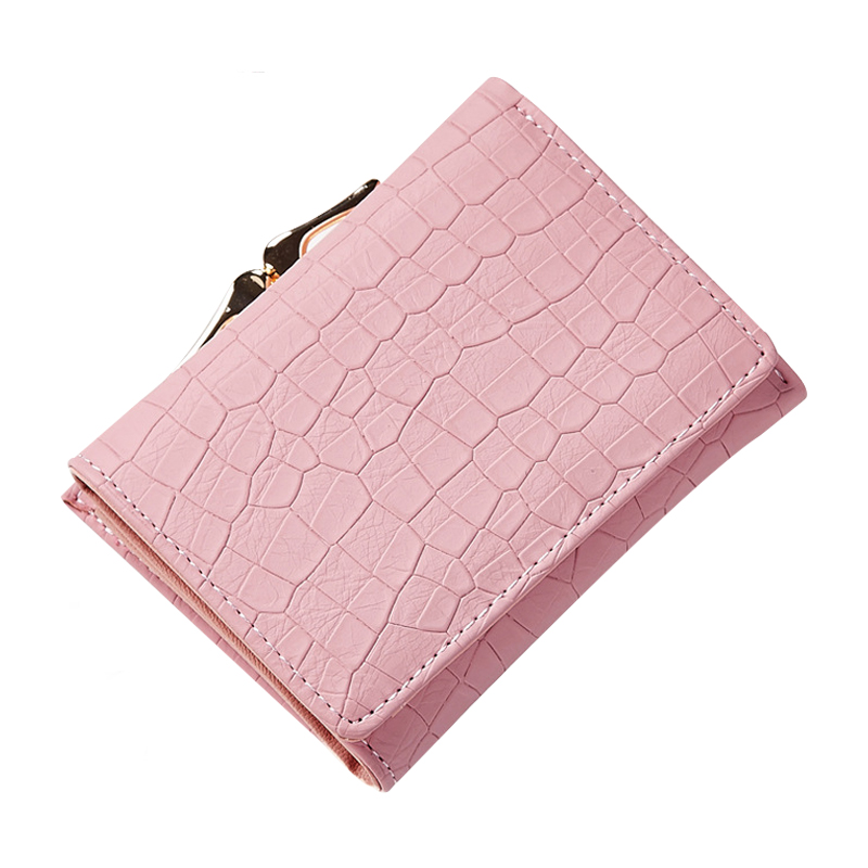 Fashion Stone Women Wallet Small Three Fold PU Leather Coin Wallet Mini Size Short Purse Brand Designed Female Coin Purse Wallet