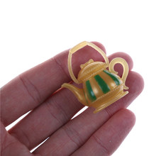 2019 New Arrivals 1/12 Dollhouse Miniature Plastic Tea Pot Tableware Toys Kitchen Doll house Accessory Classic Doll Toy(China)