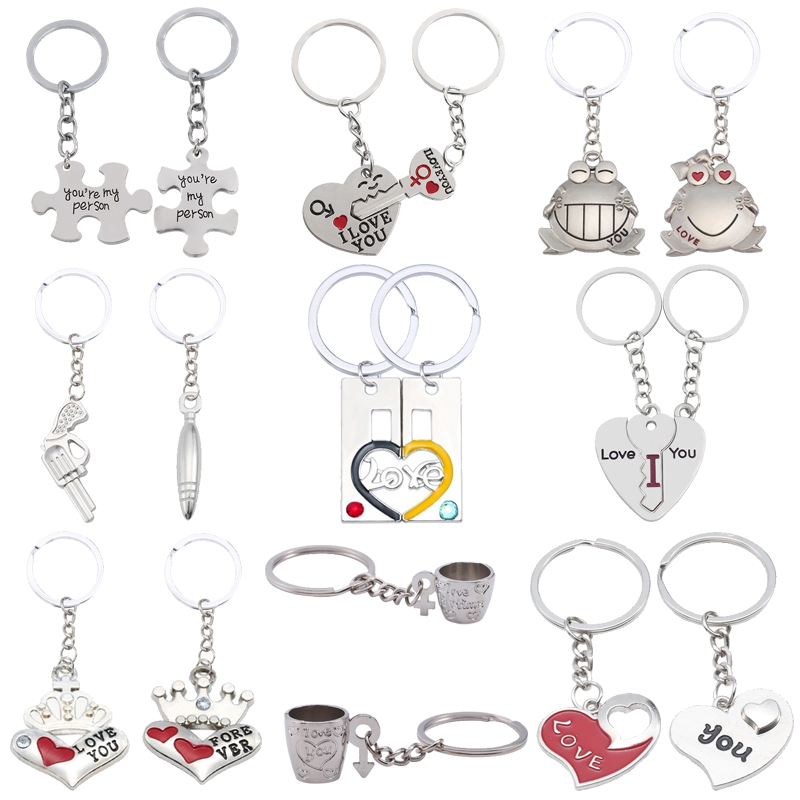 I Love You Couple Keychain Heart Shaped LOVE Letters Rabbit Frog Cups Key Chain Animal Heart Key Ring For Lovers Best Friends image