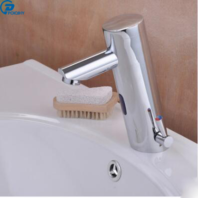 POIQIHY sensor bathroom basin faucet mixer tap hot and cold water deck mounted single hole battery power pastoralism and agriculture pennar basin india
