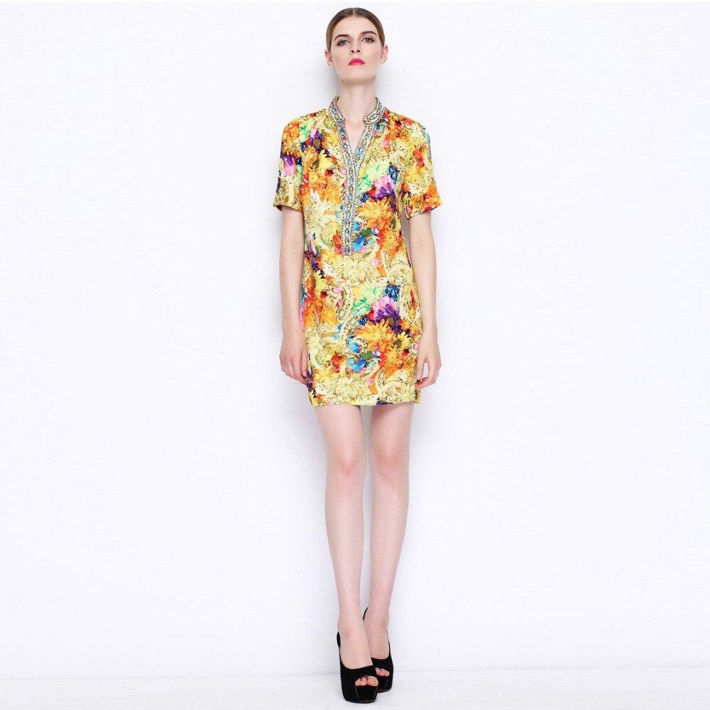 6c69e82c2421e6 Seide Desigual Kleid frühlingamp; neue 1894 Niedlichen blume Sommer Kleid  Stickerei Mode Stil Neue bgy76f