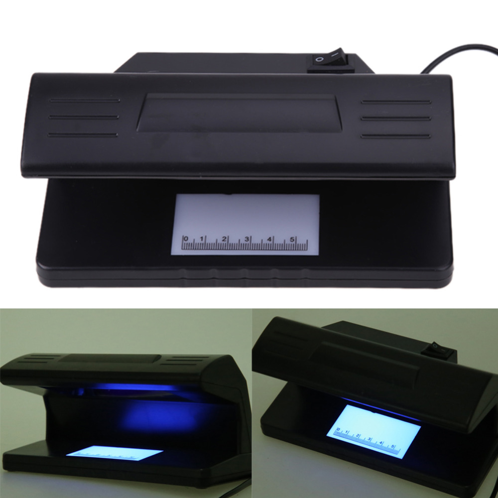 EU Plug 4W UV Light Money Detector Checker Practical Counterfeit Banknotes Bill Currency Fake Detector Checker ON/OFF Switch