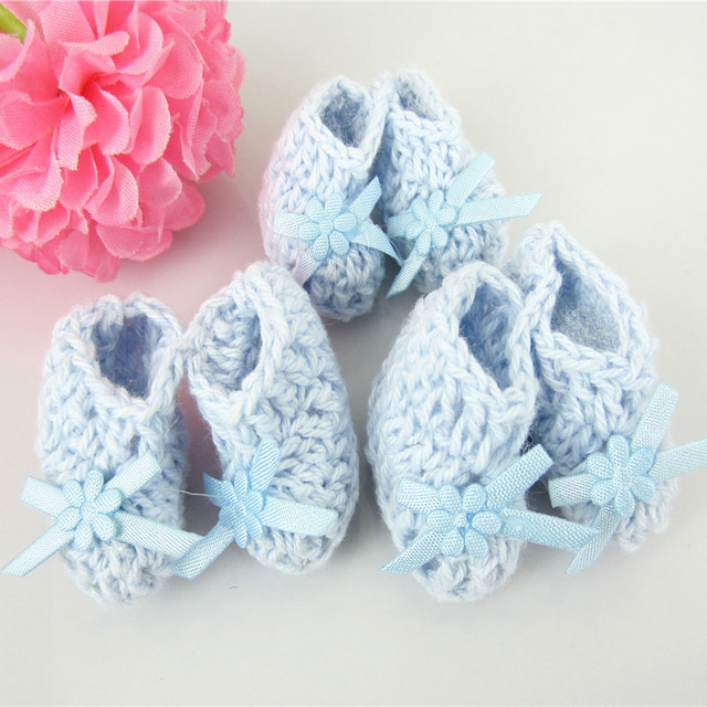 Free Shipping 12 Pairs Miniature Crochet Booties Baby Shower Favors Baptism Baby  Shower Decorations