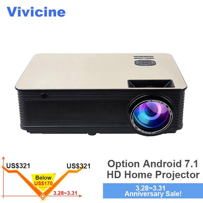 VIVICINE Home Cinéma HD Projecteur 5500 Lumens, En Option Android 7.1 WiFi Bluetooth, soutien 1080 p led Vidéo projecteur de jeu Beamer