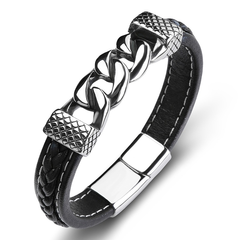 Men Jewelry Real Leather...