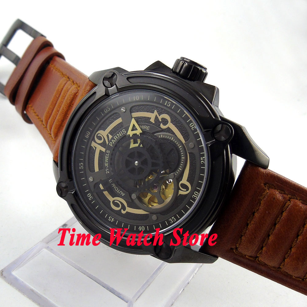 Parnis 44mm black dial sapphire glass brown leather strap PVD case 5ATM Golden MIYOTA Automatic Mens watch 673Parnis 44mm black dial sapphire glass brown leather strap PVD case 5ATM Golden MIYOTA Automatic Mens watch 673