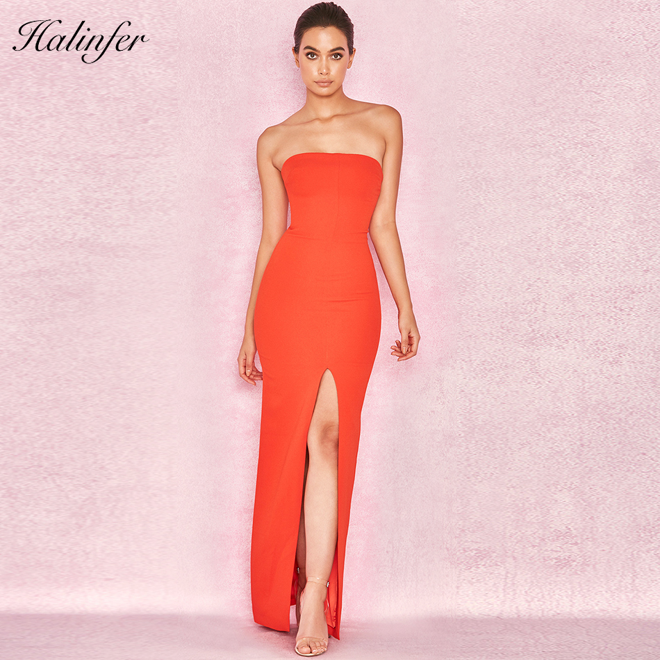 Celebrity Moulante Robes New Summer Party Club Rouge Femmes Halinfer 2018 Bustier Robe Sans Manches Élégant Sexy EID29WHY