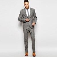 Зимние серые костюм твид Винтаж Для мужчин костюмы для свадьбы 2 шт. Формальные смокинг для жениха красивый мужской костюмы Пиджаки Slim Fit кур