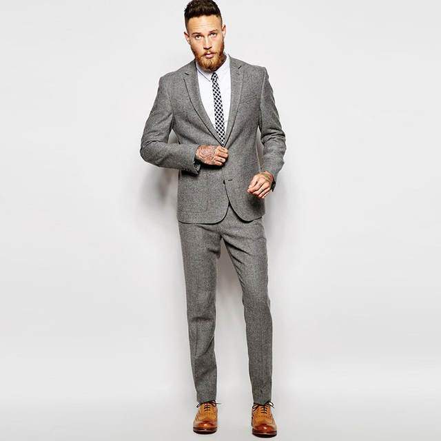 Suits For Wedding.Us 96 26 20 Off Winter Grey Suit Tweed Vintage Men Suits For Wedding 2 Pieces Formal Groom Tuxedos Handsome Male Suits Blazers Slim Fit Jacket In
