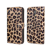 High Quality Classic Leopard Print Folio Pu Leather Wallet Case With Cover For Samsung Galaxy S4