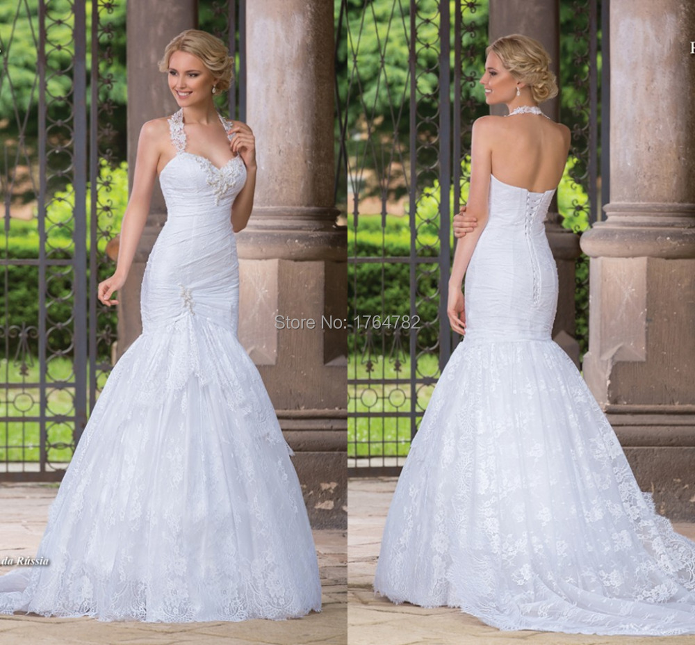 China Mermaid Halter Top Quality Flower Bridal Wedding Dresses AL halter top wedding dresses Mermaid Halter Top Quality Flower Bridal Wedding Dresses AL