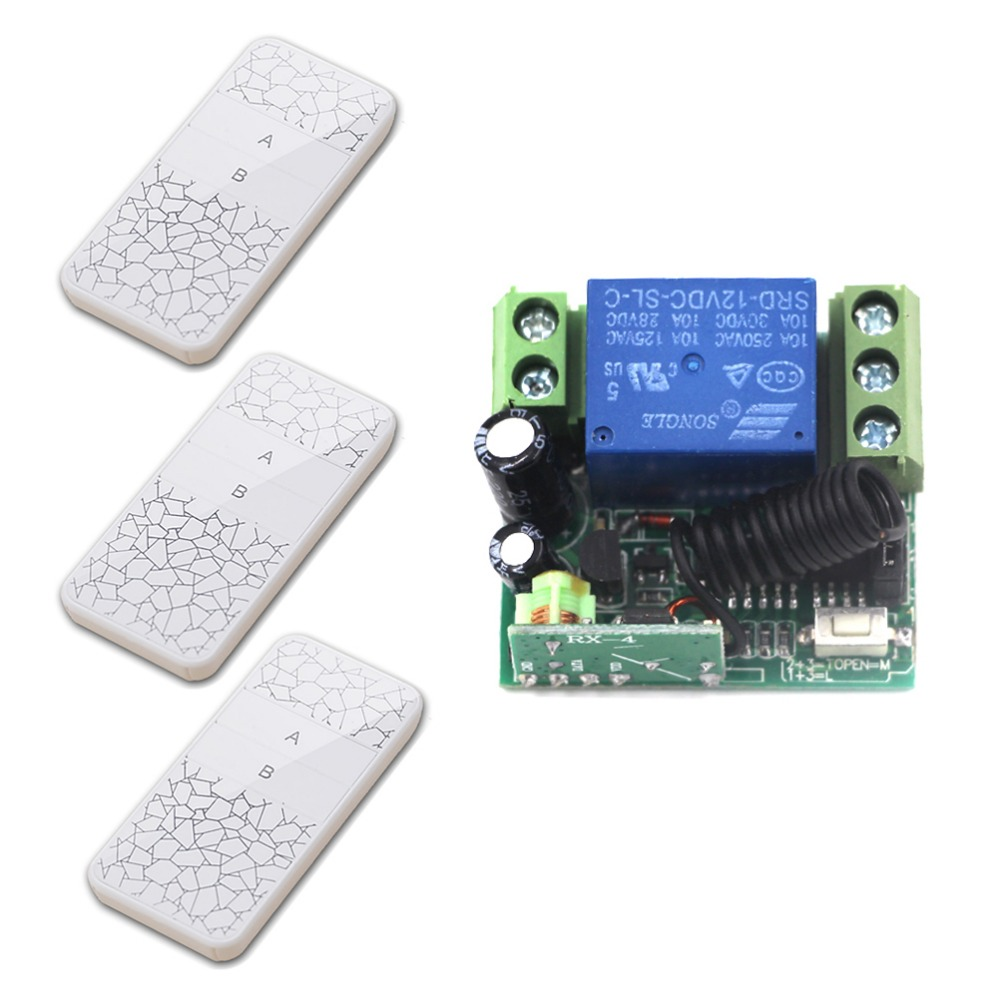 High Quality Mini DC12V 1CH RF Wireless Remote Control Switch System 3 White Transmitter+1 Receiver 315/433mhz New new style mini dc12v 1ch rf wireless remote control switch system 1receiver 2transmitter 315 433mhz manual button limit switch
