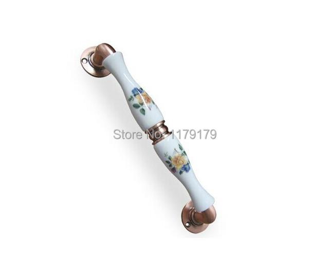 Envío libre 250mm estilo pastoral Europea de cerámica con aleación de zinc antiguos KTV hogar oficina despliegan instalar puerta de madera maneja