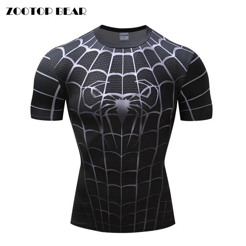 Gym Clothing Brand Summer Sport T shirt Hot Of 2019 Black Spider men tshirt 3D printed Summer Quick dry sport short sleeve Shirt