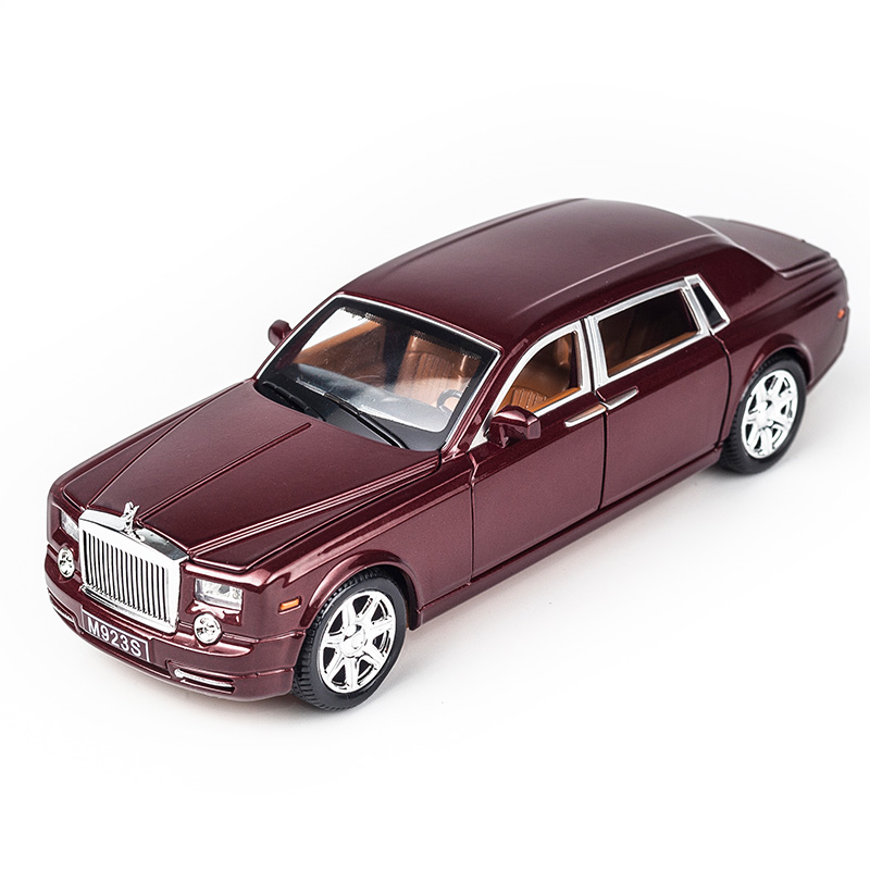 KIDAMI Rolls Royce 1:24 Scale Diecast Vehicle Model Toy Cars Pull Back Sound Light Gift Collection For Kids Adult