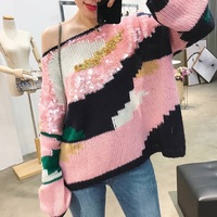 2017 New Women S Fashion All Match Europe Early Autumn Color Paillette Loose Sweater