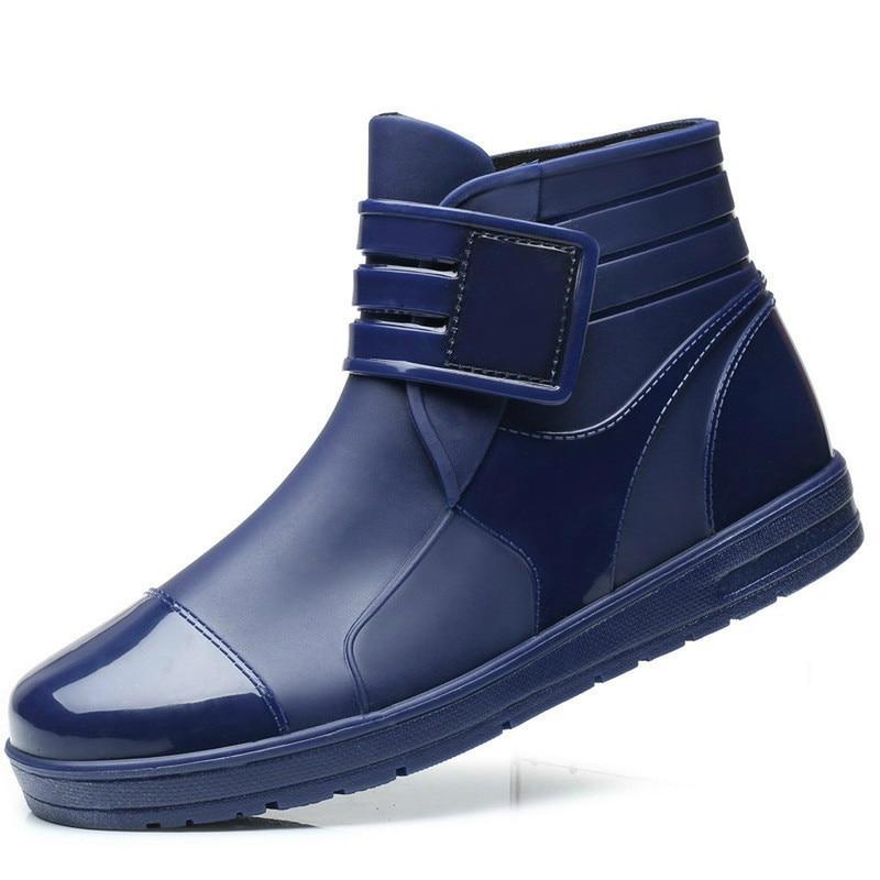 Aggressiv 2018 Mode Pvc Wasserdicht Rain Wasserdicht Flache Schuhe Männer Schwarz Rain Blau Gummi Stiefeletten Schnalle Botas Xx-384