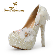 Pearl handmade bridal shoes white lace flower wedding shoes platform pumps thin heels pointed toe shoes women