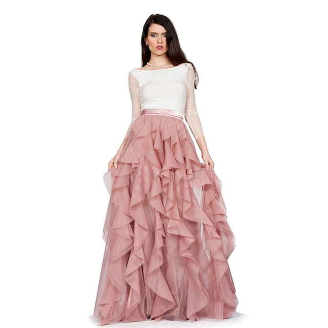 061d168ea3 Layered Ruffles Skirt Ribbon Waistline A Line Floor Length Full Maxi Skirt  Customized Soft Tiered Thick Tulle Skirts Adults