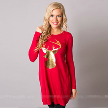 Autumn Women Casual T-shirt Long Sleeve Loose Christmas Animal Print T Shirt Christmas Deer Funny Cute Women Tops Tee
