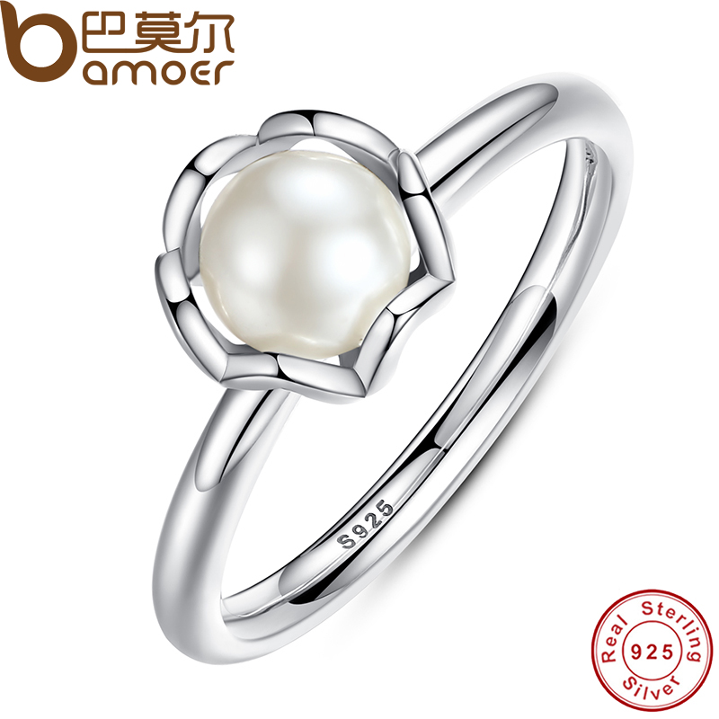 cc5c074724 Original 925 Sterling SILVER RING WITH WHITE FRESHWATER CULTURED PEARL  Authentic Cultured Elegance Pearl Jewelry PA7118