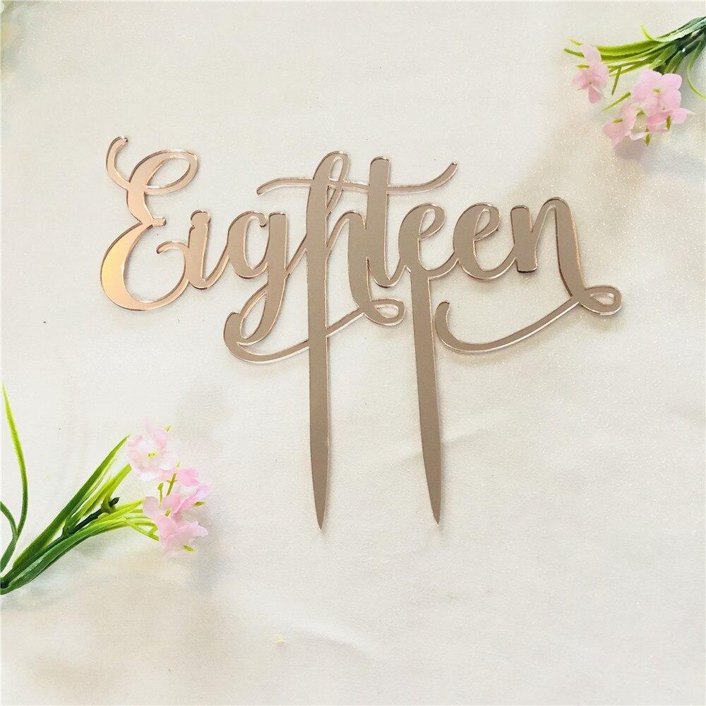 Eighteen Acrylic Rose Gold Mirror 18th Birthday Cake Topper