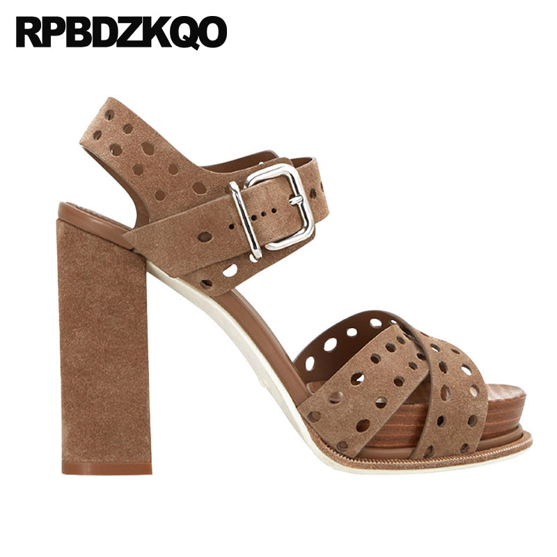c301bdac228 US $80.08 36% OFF|Strappy Chunky Pumps Open Toe Shoes Platform Women Two  Strap Sandals Slingback Fashion Genuine Leather High Heels Thick Brown-in  ...