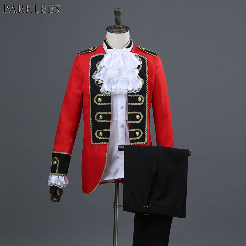 Hommes rouge Europe Style Court maréchal costumes marié mariage 2 pièce Costume (veste + pantalon) mâle partie scène chanteur moyen âge Costume