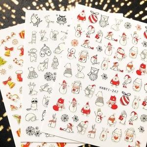 Image 2 - Рождественская Снежная серия HANYI, фотообои, наклейка, шаблон, сделай сам, украшения для ногтей