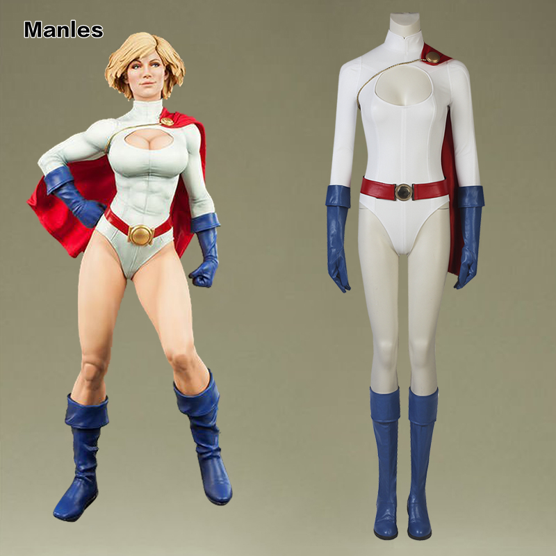Power Girl Cosplay Kara Zor-L Costume Superhero Clothing Female Halloween  Leather Adult Women Outfit Boots Cloak With Gloves 68c42af92b0b