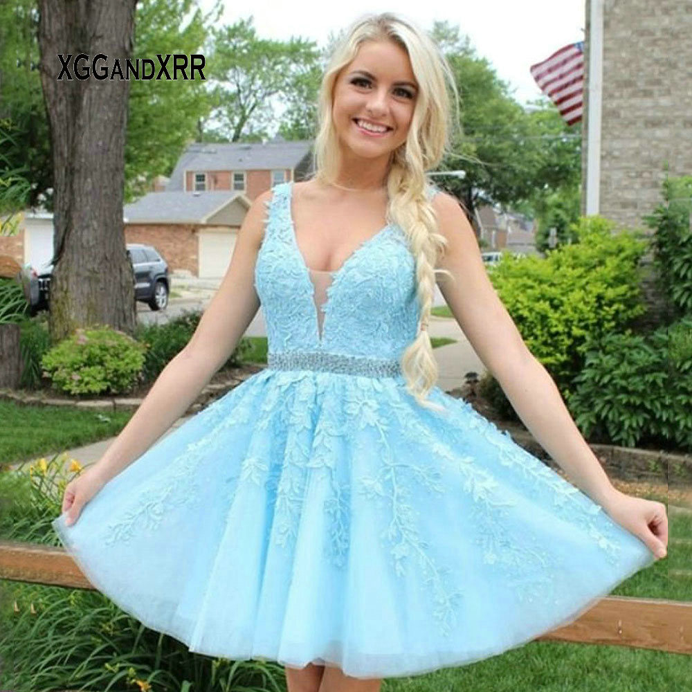 New Arrival Short Prom Dress 2019 Sexy V Neck Strap Lace Applique Sky Blue Girls Party