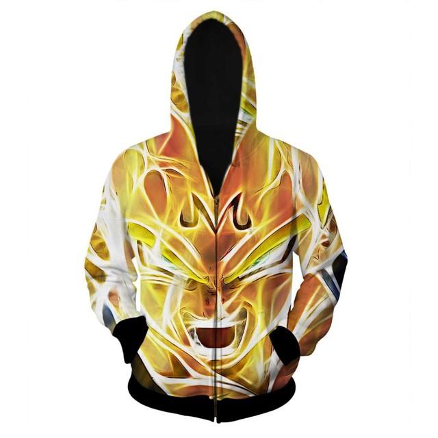 Hoodies mais novo Dragon Ball Z Super Saiyan Zíper Outerwear Goku/Vegeta/Majin Buu 3D Homens Do Hoodie Das Mulheres Solto Moletom com capuz