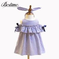 Bestime Girl Dress Summer 2017 Ruffles Cotton Blue Striped Children Dress Headband 2Pcs Kids Girls Clothes