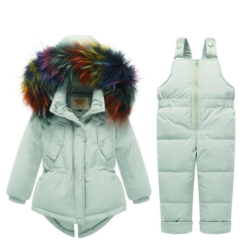 2018 Russian Winter Children Clothing Sets Boys Warm Duck Down Jacket for Baby Girl Children Coat Snow Coat Kids Suit Fur Collar цена
