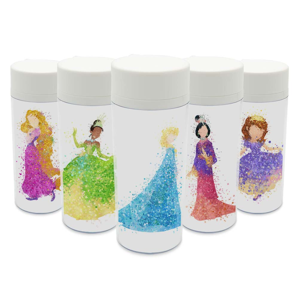 Plastic Insulated Original Watercolor Cartoon Movie Princess Snow Cinderella Girl Water Bottle 300ml Gift BPA Free