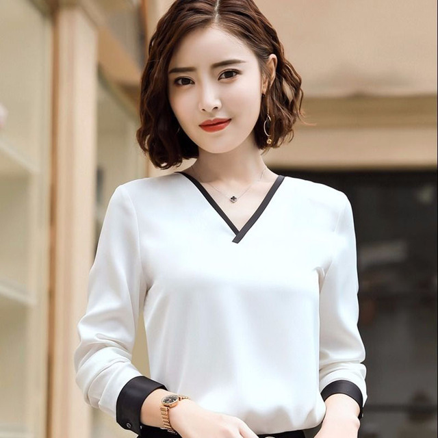 Women Chiffon Blouses V-Neck Zipper OL Long Sleeves Loose Shirt Blouse Blusa Feminina elegant solid color Plus Size DD2353 2