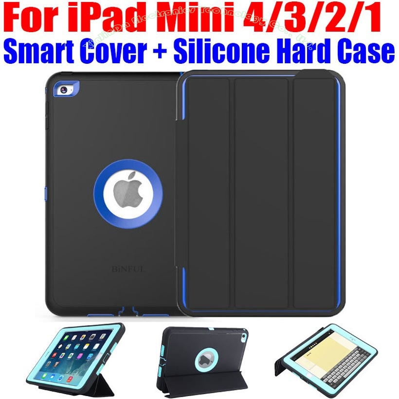 50pcs/Lot Kids Safe Armor Shockproof Heavy Duty Silicone Hard Case + Smart Cover For iPad Mini 4/3/2/1 + Screen Protector IM408