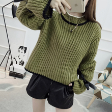 autumn and winter bow flare sleeve bandage sweater female wool turtleneck long-sleeve