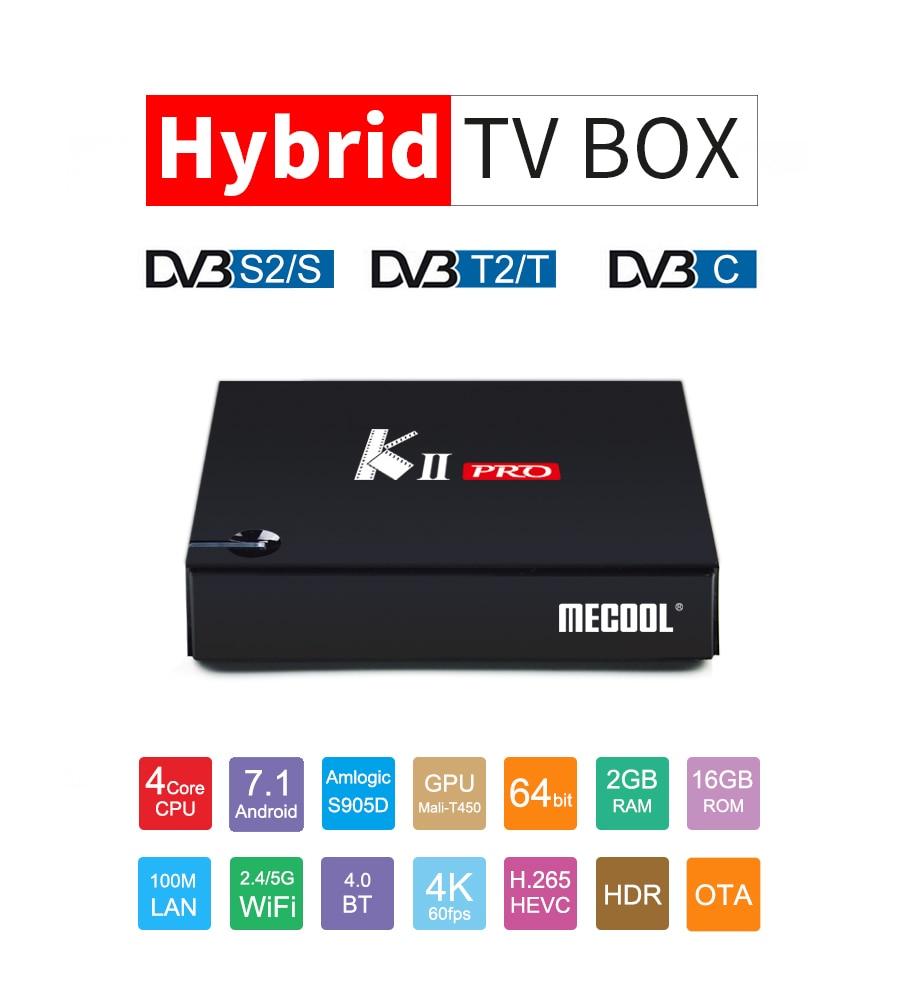 KII PRO android satellite box DVB-T2 DVB-S2 Android 7.1 Amlogic S905D 2G/16G 802.11AC WIFI LAN BT4.0 4k satellite receiver kii pro android 5 1 1 tv box built in 2 4g