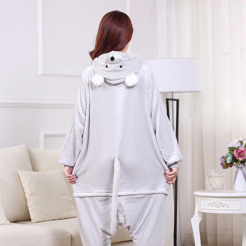 Soft Gray Mouse Onesie Flannel Warm Cute Pajamas Kigurumi Animal Sleepwear Adult For Women Cosplay home Special Costume Jumpsuit