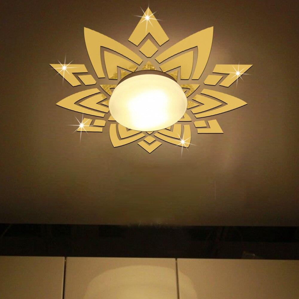 3D acrylique Stickers muraux salon chambre plafond miroir 46.85x49.40 pouces fleur forme mur autocollant décoration de la maison