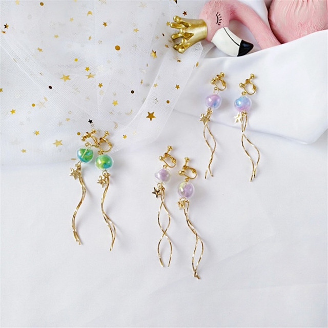 xedz japan and south korea green bubble stars long curve earrings