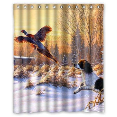 Snow Hunting Dog Bird Fly Sunrise Custom Waterproof Shower Curtain 160x180cm Bath Curtains Bathroom Products