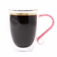 KEYTREND Creative Double Wall Borosilicate Glass Coffee Mugs With Sparkling Tiny Crystal Rhinstones Filled In Handgrip