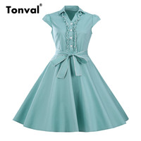 Tonval Femmes Hepburn Style Ruches Dress Vintage Turn Down Col D'été Cap Manches Superbe Princesse Dress
