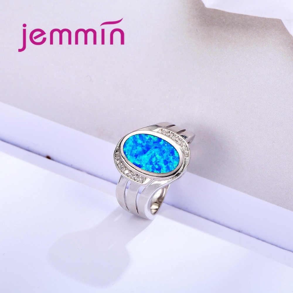 כחול אש אופל טבעת זכר נקבה תכשיטי טבעות 925 כסף סטרלינג אופנה לגברים ותכשיטים לנשים