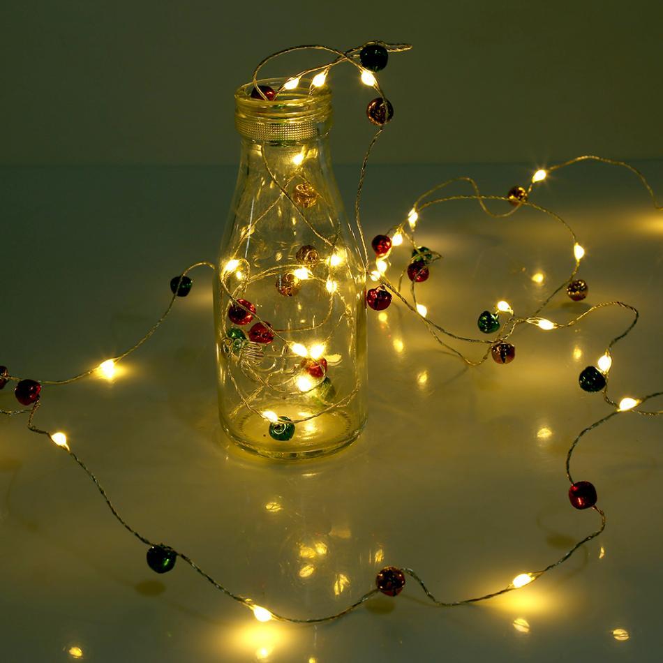 Home Decoration Bottle String Lights LED Battery Copper Wire Light with Chrismas Bells
